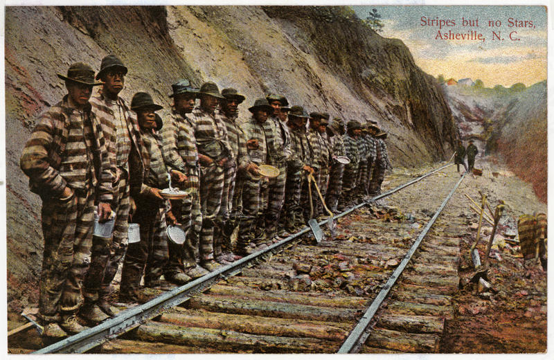 Image of convict laborers outside Swannanoa tunnel