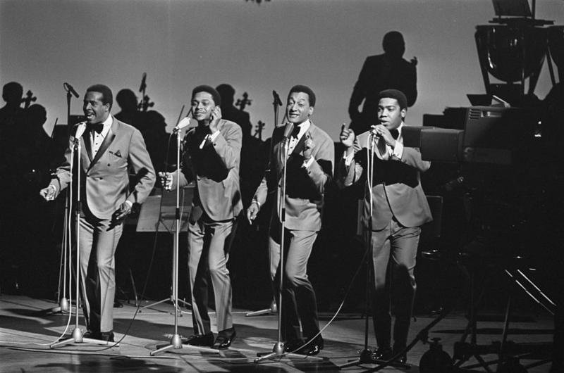 The Four Tops are one of the many successful Motown bands. Duke Fakir is the second from the right.