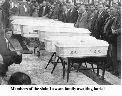 An image of the Lawson family in coffins