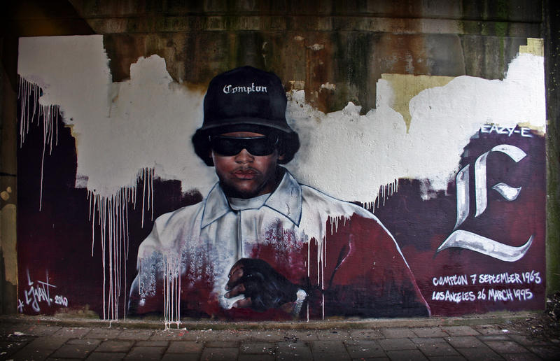 A tribute mural to slain rapper Easy -E in Compton.
