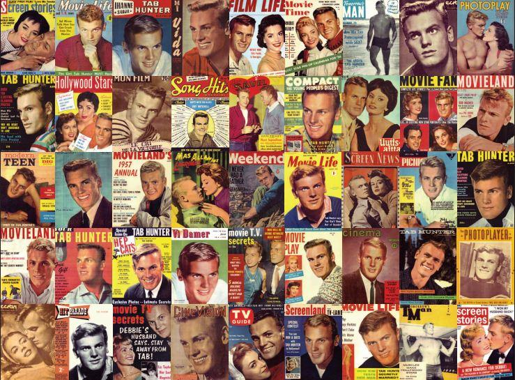 A compilation of magazine covers from all over the world showing Tab Hunter at the peak of his celebrity.