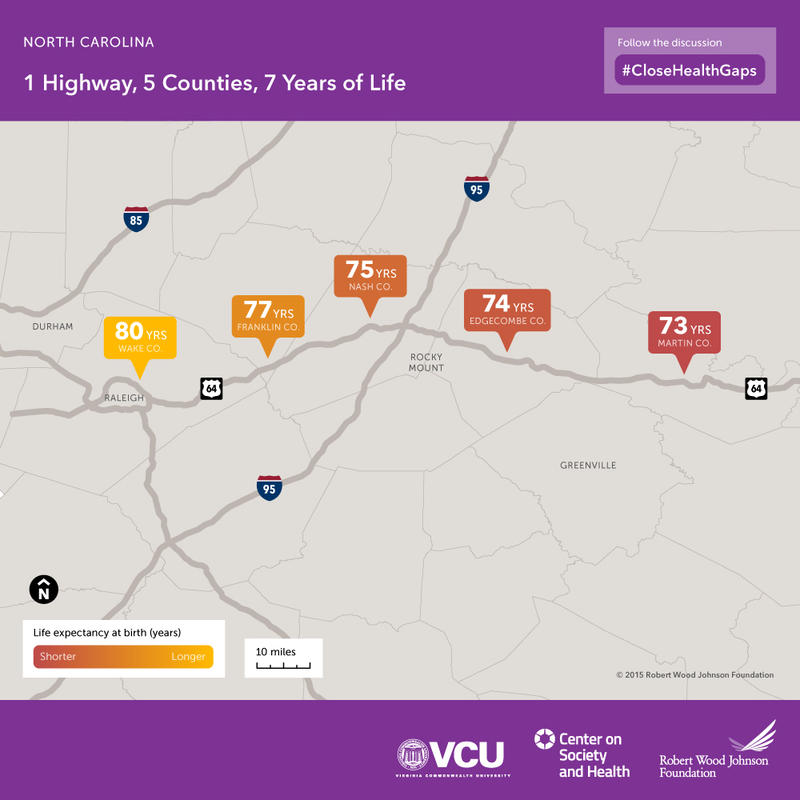 An image of life expectancy across NC counties
