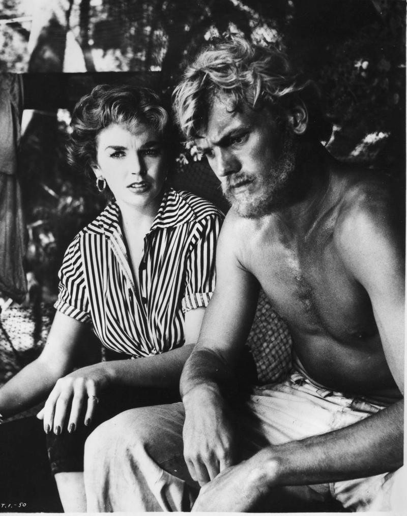 Tab Hunter with co-star Dawn Addams on the set of 'Return to Treasure Island.'
