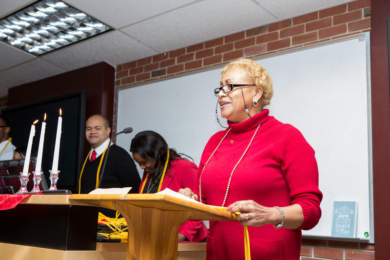 Charmaine McKissick-Melton at a ceremony for Sigma Tau Delta.
