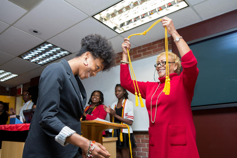 Charmaine McKissick-Melton at a ceremony for Sigma Tau Delta, an English honor society.