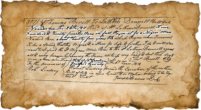 A picture of a slave deed.