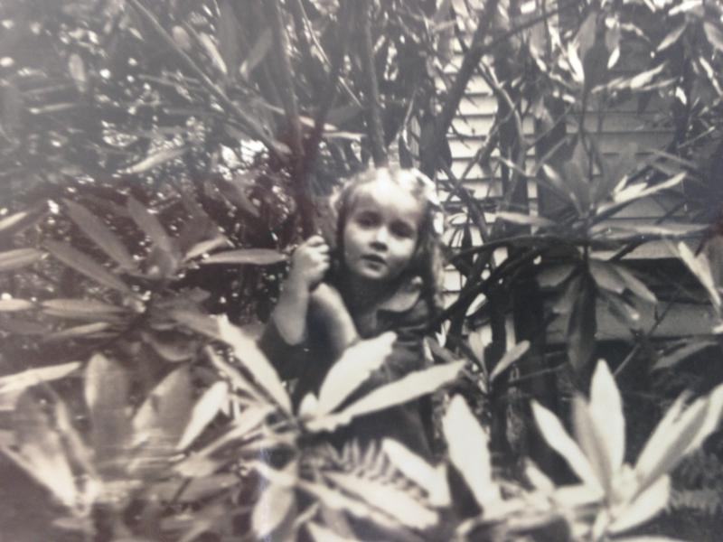 Mary Kratt in rhododendron at age 6