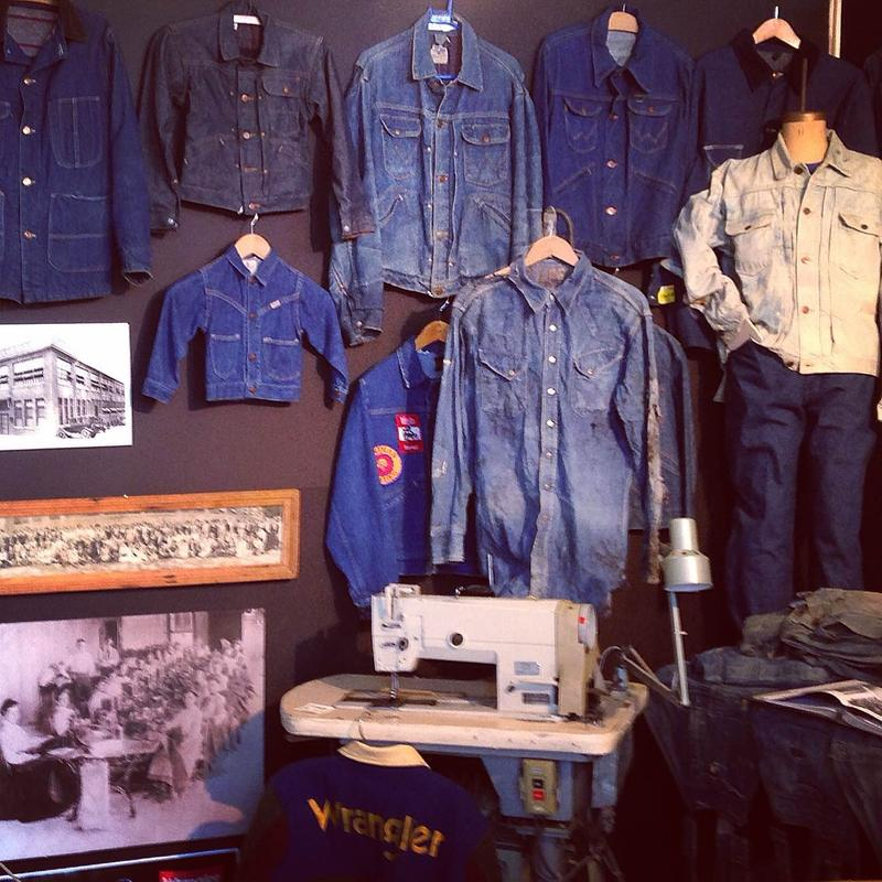 Examples of evolution of Blue Bell Wrangler product from work clothing to casual wear
