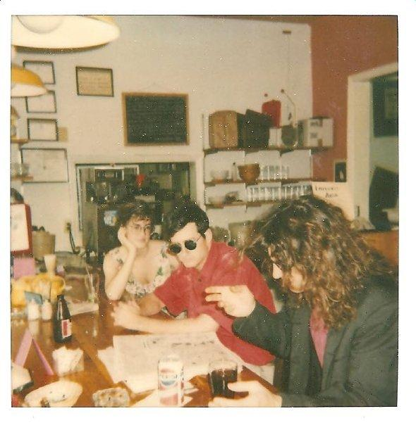 Kathy Giuffre (L) in 1990 at the Hardback Cafe, a coffee shop and bookstore that used to be on Columbia Street in Chapel Hill.