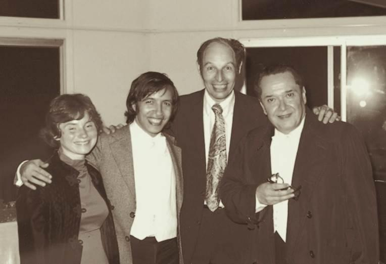 Giorgio Ciompi (right) founded the Ciompi Quartet at Duke University in 1965. Pictured with him are (L-R) Claudia Warburg, one of the early quartet members, pianist Murray Perahia and Horst Meyer, a professor at Duke and a great patron of the quartet.