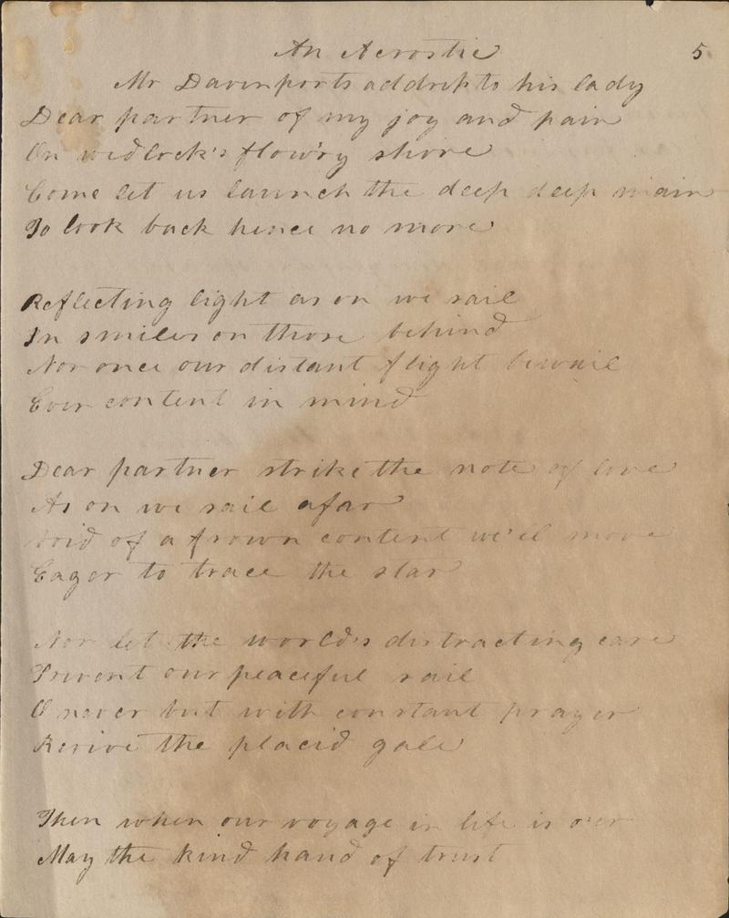 An acrostic poem titled 'Mr. Davenport's Address to his Lady.' The first letters of each line spell Doctrine Davenport, who, presumably was Mr. Davenport's lady.