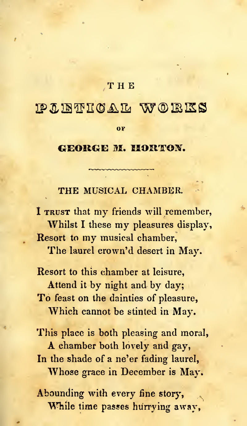 A portion of George Moses Horton's poem 'The Musical Chamber'