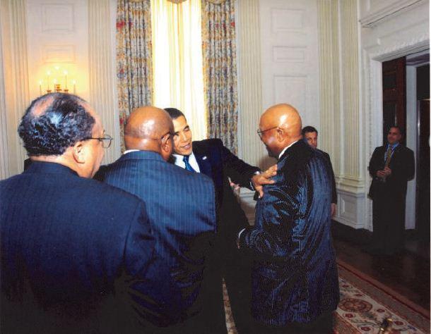 Greeting President Barack Obama at the White House