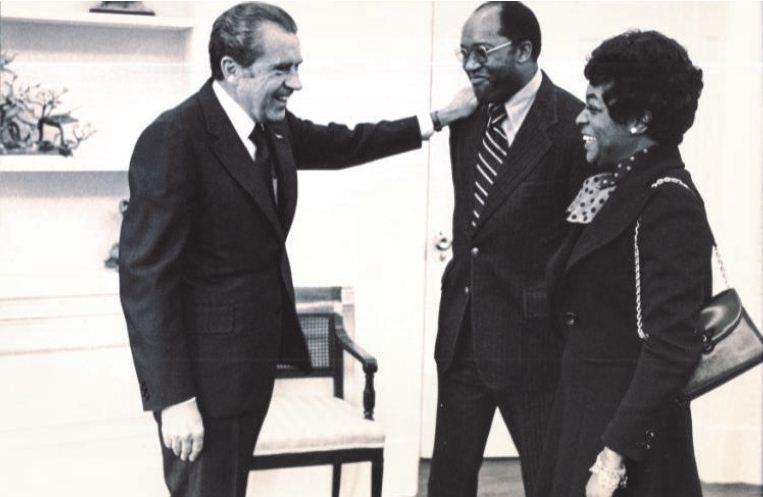 President Richard Nixon greeting Robert and his late wife Sallie Brown in the White House