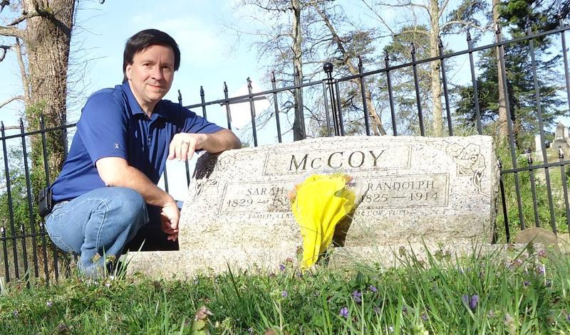 Ron McCoy at the gravesite of Randolph McCoy
