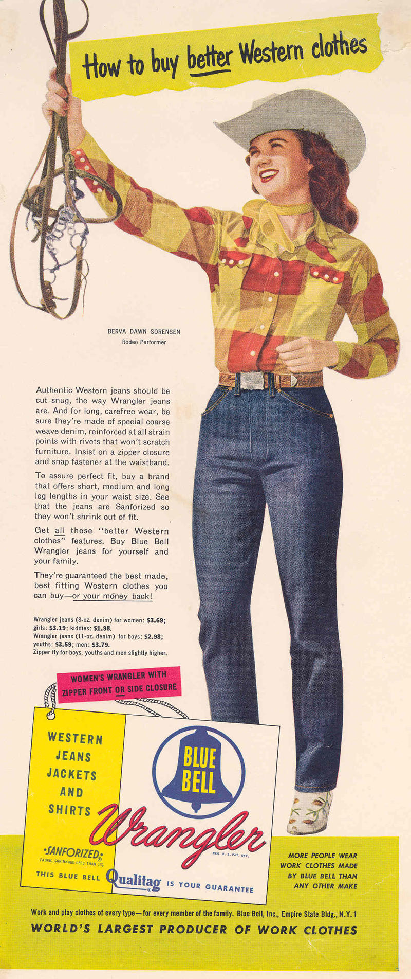 A Wrangler advertisement featuring rodeo performer Berva Dawn Sorensen.