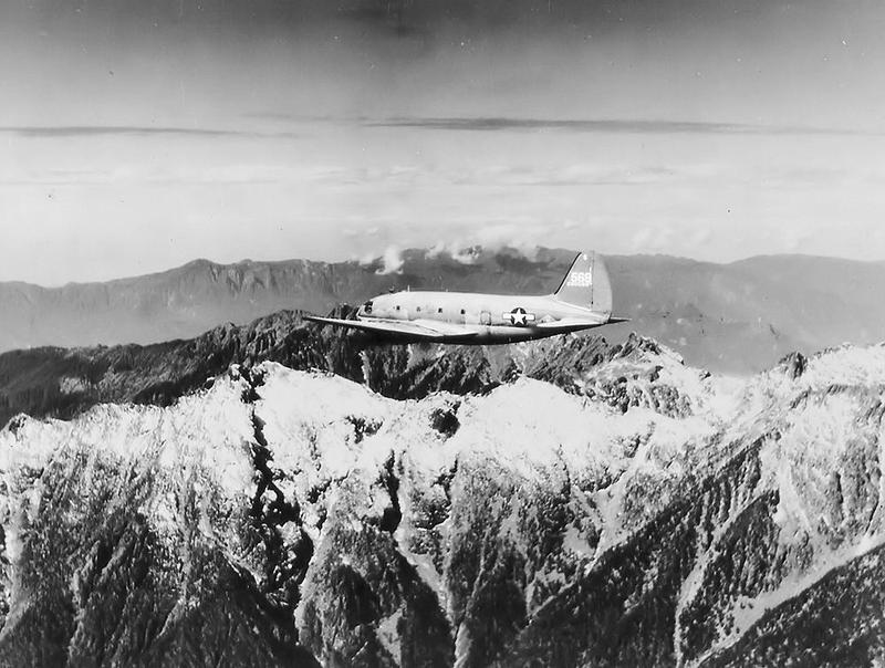 A U.S. Army Air Forces plane flies over 'The Hump' in the Himalayan Mountains in 1945. Many U.S. planes crashed in this area during World War II due to the terrain.