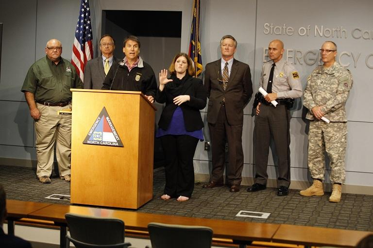 Photo: Gov. Pat McCrory spoke at the North Carolina Emergency Operations Center about preparation for Hurricane Joaquin.
