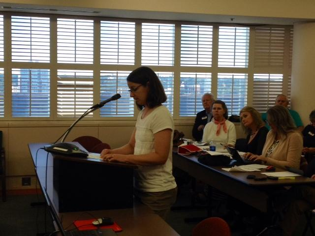Jennifer Schrand was one of several anti-Common Core activists who spoke at the meeting.