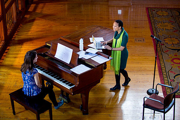 This picture was taken at the Radcliffe Institute at Harvard in 2013. Jaji was rehearsing with her undergrad research partner, Cansu Colakoglu, for a lecture-recital on U.S. and British black composers.