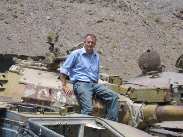 Reynolds on a tank in the Panshjir Valley, Afghanistan