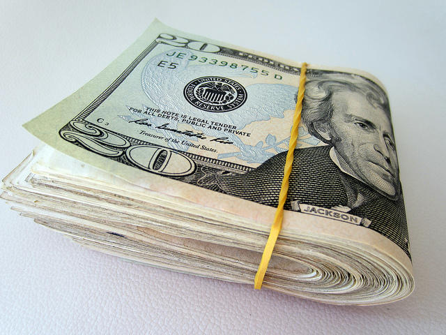 A picture of a folded wad of cash.