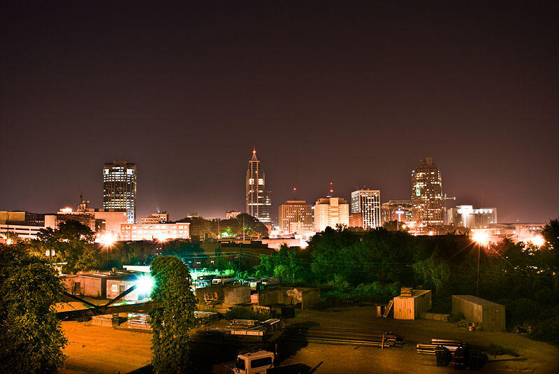 A picture of the Raleigh skyline at night.