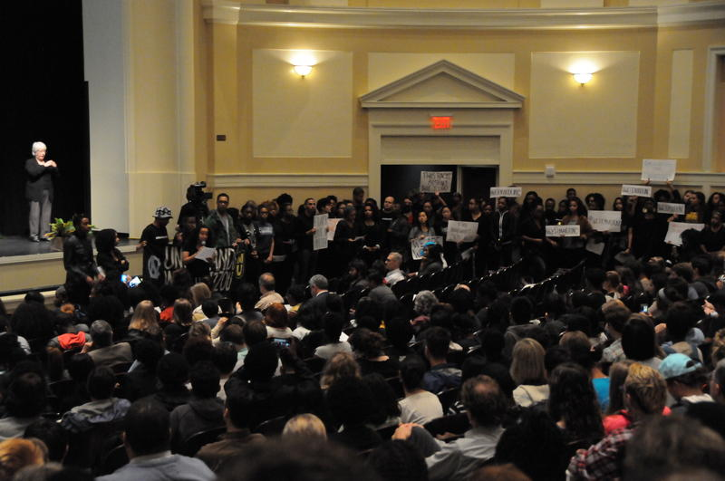 A group of student protesters interrupted a UNC town hall meeting about race and inclusion to present their demands.