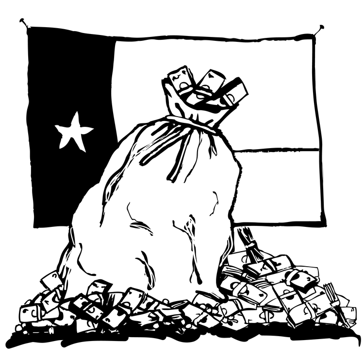 A drawing of a bank bag and money before a Texas flag.