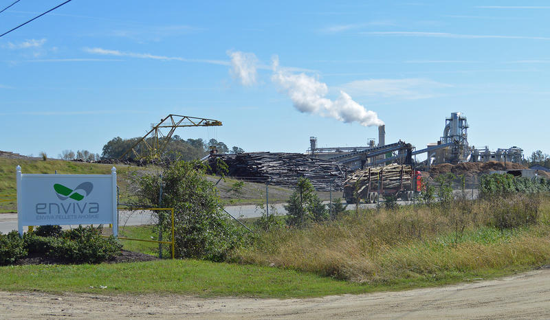 A log truck rolls into the Enviva wood pellet plant in Ahoskie.