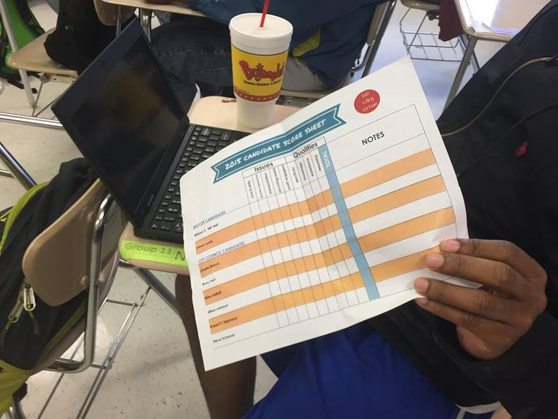 Students used a ratings chart to help select their candidates.