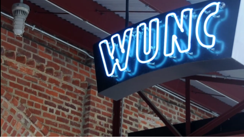 "An image of the ""WUNC"" sign"