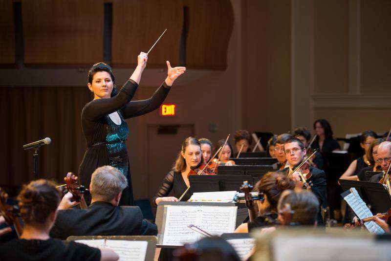Verena Mosenbichler-Bryant conducts the Duke Medicine Orchestra.