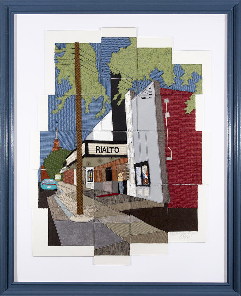 Caitlin Cary creates art using a method she called 'needleprint.' It's a process involving sewing and paper, and she's documented historic Raleigh sites such as the Rialto Theatre shown here.