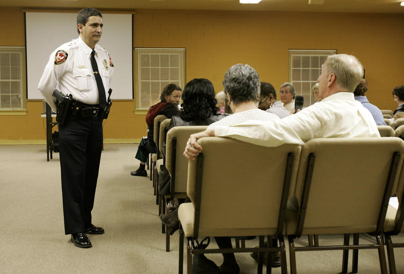 Durham Police Chief Jose Lopez speaks to a group of concerned citizens during a community meeting in Durham, N.C., Monday, Feb. 18, 2008.