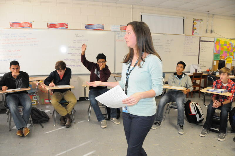 History teacher Karla Albertson goes over civil rights cases with her students at Louisburg High School in Franklin County.