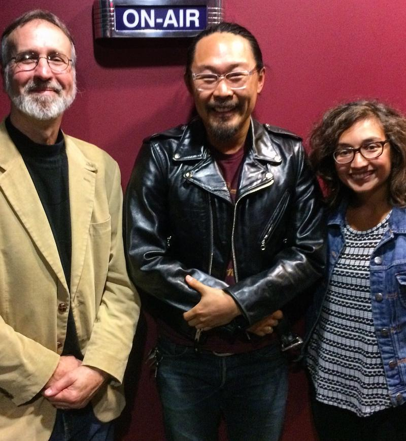 Image of Host Frank Stasio, Avett Brothers' Cellist Joe Kwon, and SOT Producer Anita Rao
