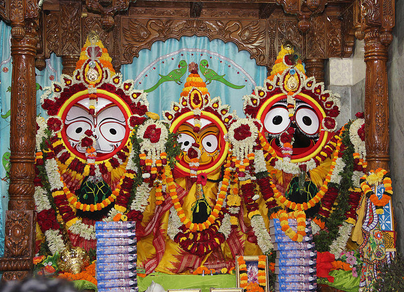Balabhadra (left), Subhadra (center) and Lord Jagannath (right) on display at a temple in Bhubenswar, India.