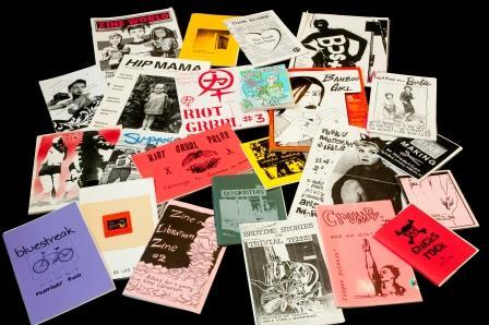 Pile of zines from the Bingham Center's zine collections