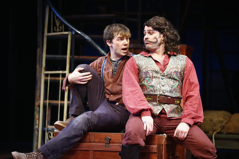 (L-R) Evan Johnson as Peter and Mitchell Jarvis as Black Stache in 'Peter and the Starcatcher'