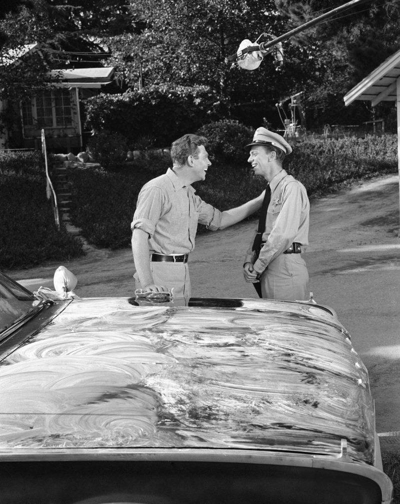 Andy Griffith and Barney Fife shoot their first scene on 'The Andy Griffith Show.' The production was supposed to revolve around Andy; but once producers saw the magic between Andy and Don, they set about reordering the show around their relationship.