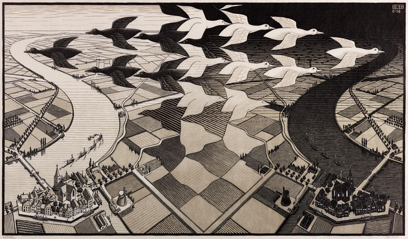 'Day and Night,' 1938, woodcut in black and gray, printed from two blocks, 15 3/8 x 26 5/8 in.
