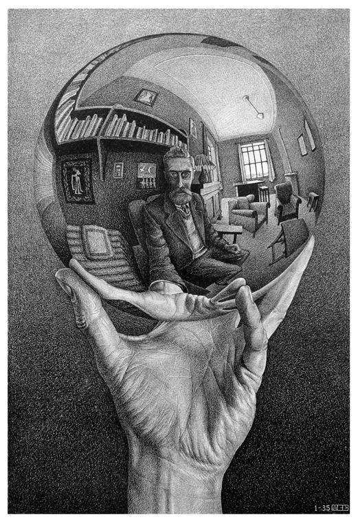 'Hand with Reflecting Sphere (Self-Portrait in Spherical Mirror),' 1935, lithograph, 12 1/2x 8 3/8 in.