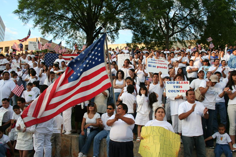 Immigrants' rights vigil in Marshall Park, Charlotte, May 1, 2006.