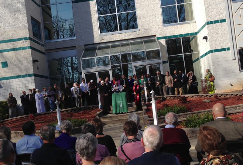 Photo: Pastors, rabbis, imams and dozens of people gathered Friday at the Raleigh Islamic Center for a prayer and a minute of silence for victims of recent terrorist attacks in San Bernardino, Calif., and Paris