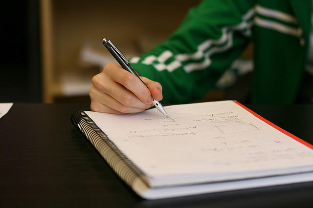 A picture of a student doing school work.