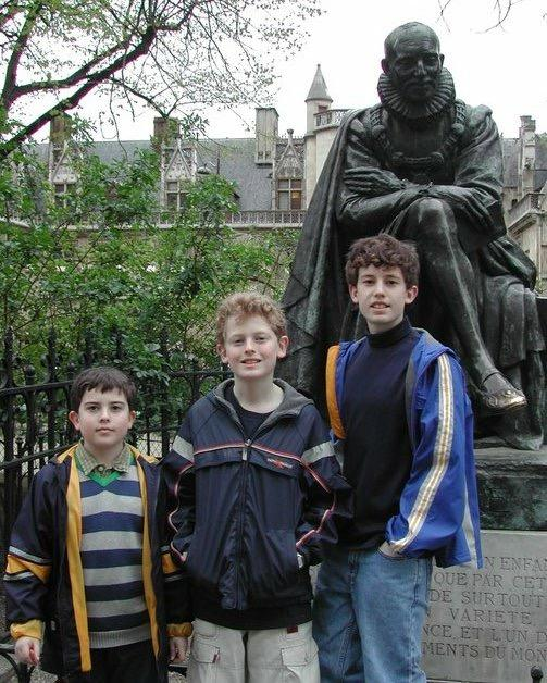 "Sherbondy's three sons Zachary, Ethan and Jacob in Rodin's Garden in Paris. They are one of many subjects featured in her new poetry collection ""The Art of Departure."""
