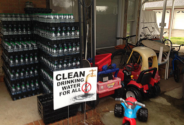 Image of bottled water provided by Duke Energy to families affected by the coal ash spill.