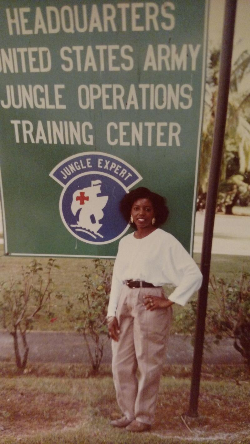 Image of retired special agent Rosalynde Fenner on her first day of training at the jungle operations training center.