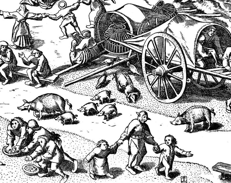 As Europe's forests were felled to grow crops, pigs took up residence in towns, as depicted in this detail from Breugel the Elder's 1559 drawing Fair at Hoboken.